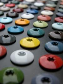 Kleurkop schroef RVS Duitse kwaliteit in veel RAL kleuren lengte 38 mm verpakt per 100
