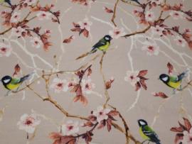 Tricot stof met vogeltjes
