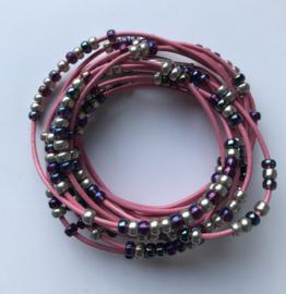 Wrap-armband leer Miyuki roze