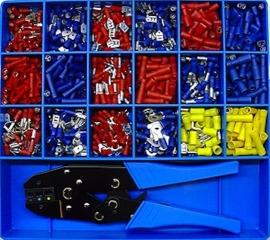 Kabel terminal assortiment kit geisoleerd & tang rood/blauw/geel