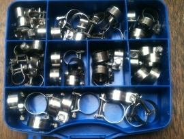 45 Delige mini slangklemset met organizer RVS