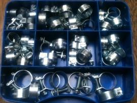 45 Delige mini slangklemset met organizer Staal verzinkt