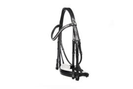 LJ Leathers Hoofdstel Stang & Trens New Pro Dressage zwart/wit -135