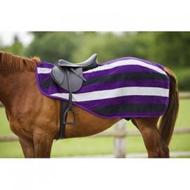 Equitheme uitrijdeken fleece stripe paars