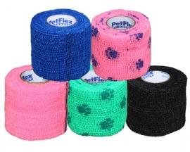Bandage Petflex 5cm 1 stuk roze met pootjes