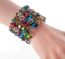 Prachtige Brede Armband met Bloemen en Strass Steentjes