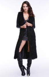 Maxi Faux Wollen Bodywarmer/ Vest Zwart met Tailleriem