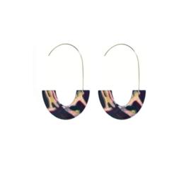 Trendy Ovale Oorbellen / Oorringen  Multi Gekleurd
