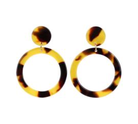 Oorringen met Luipaard Design Donker Caramel