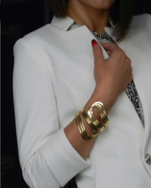 Elegante Sierlijke Brede Armband Goudkleurig