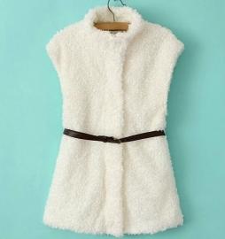 Mooie Witte Wollen Bodywarmer/ Vest Blanche met Tailleriem