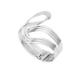 Elegante Sierlijke Brede Armband Zilverkleurig