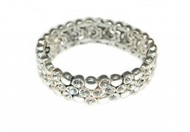 Mooie Zilverkleurige Armband met Strass Steentjes