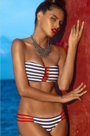 Gestreepte Bandeau Bikini