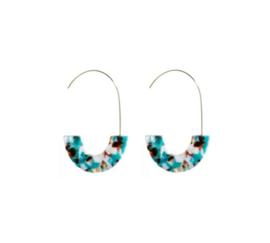 Trendy Ovale Oorbellen / Oorringen Blauw Gemixt