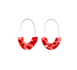 Trendy Ovale Oorbellen / Oorringen Rood