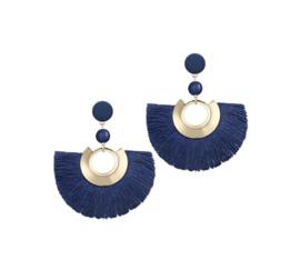 Mooie Trendy Fringe Oorbellen Blauw
