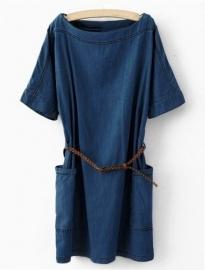 Donkere denim jurk met Wijde Zakken