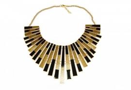 Ketting met Zwart en Goudkleurige Staven in Cleopatra Stijl