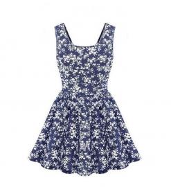 Schattige, Speelse Denim jurk met Bloemenprint