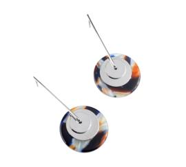 Vintage Geometrische Oorbellen met Ronde Schijven Blauw/Bruin