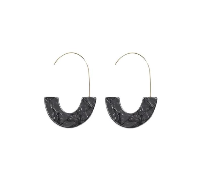 Trendy Ovale Oorbellen / Oorringen Parelmoer Zwart