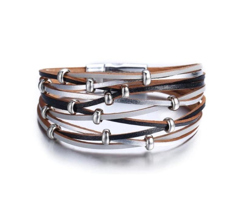 Lederen Armband in Pastelzilver-Zwart