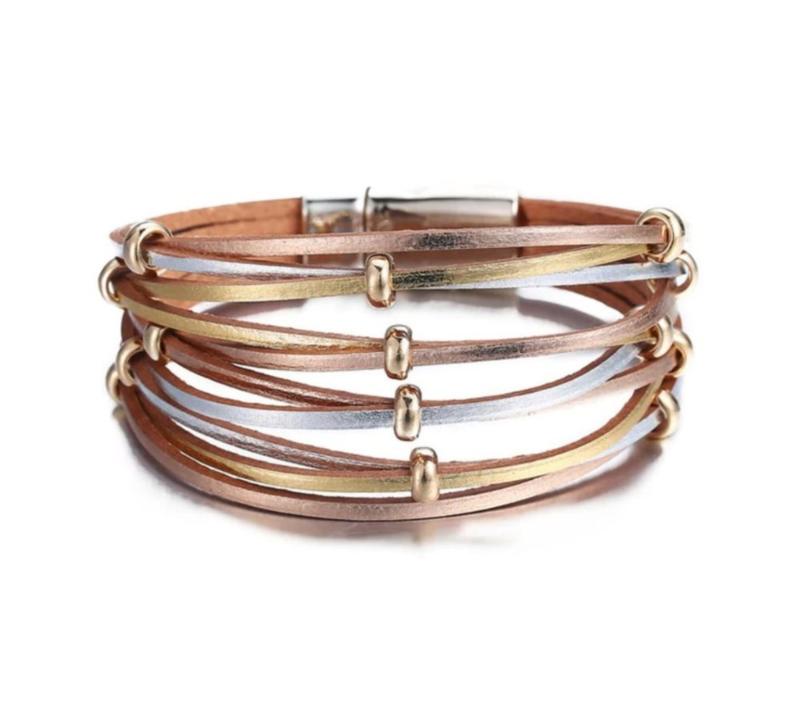 Lederen Armband in Pastelkleur Zilver-Goud