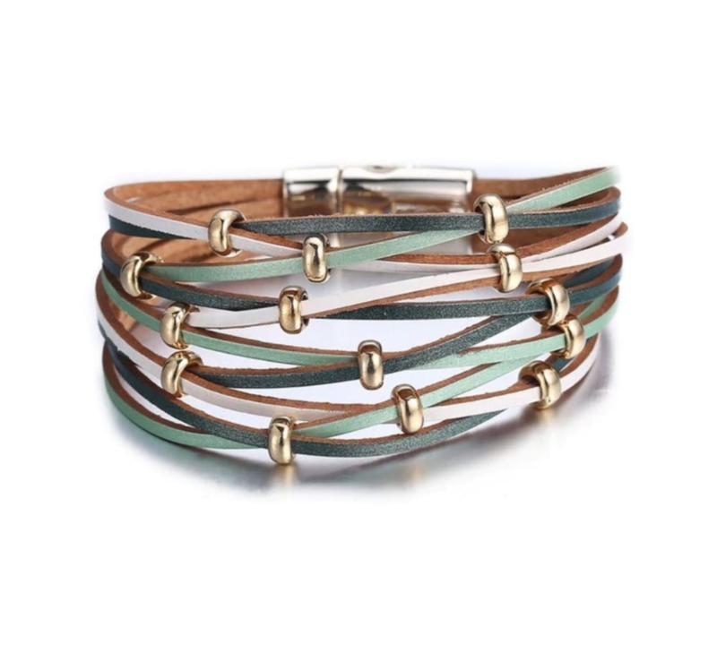 Lederen Armband in Pastel Groen