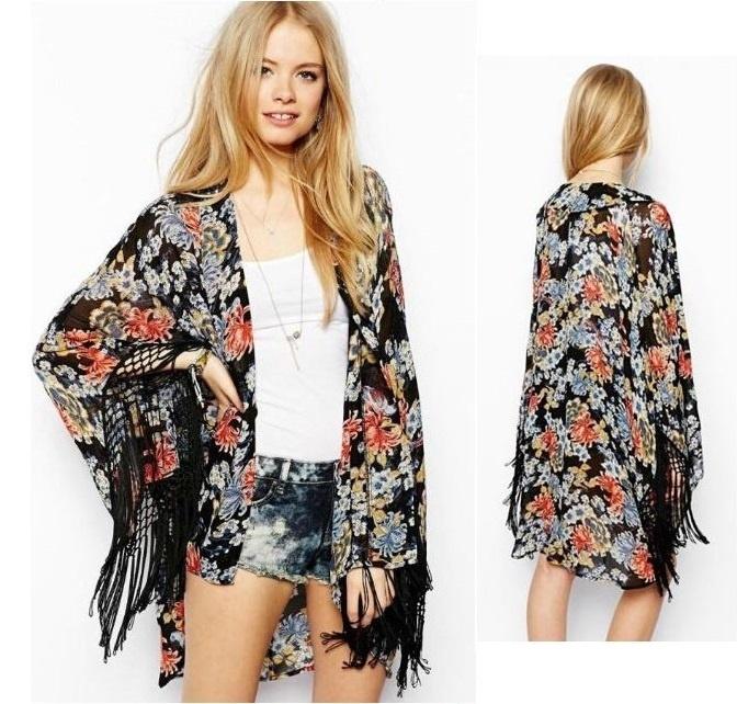 Fringe Kimono Summer met Bloemenprint en