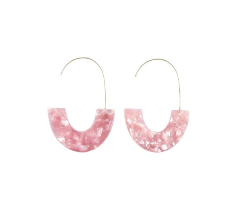 Trendy Ovale Oorbellen / Oorringen Parelmoer Roze