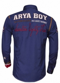 Arya Boy overhemd dark navy geborduurd