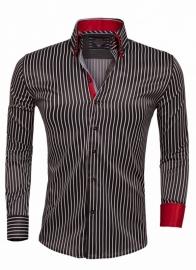 Overhemd Arya Boy black gestreept