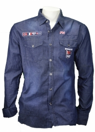 Monarchy Overhemd- Blue Denim,geborduurd maat L