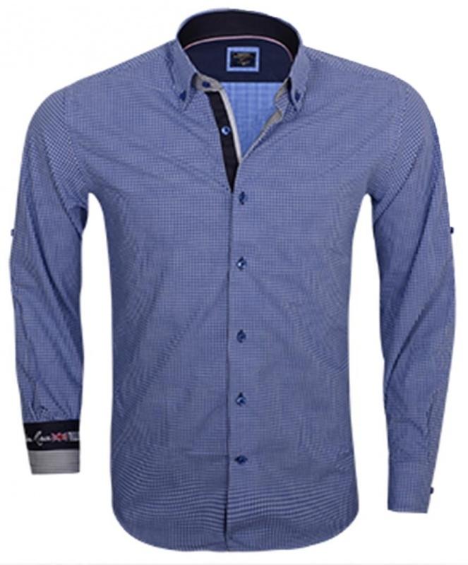 Overhemd Wam denim turquoise ruit