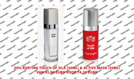 20% korting Touch of Silk (30ml) & Active Mask (50ml)