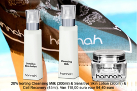 20% korting Cleansing Milk (200ml) % Sensitive Skin Lotion (200ml) & Cell Recovery (45ml)