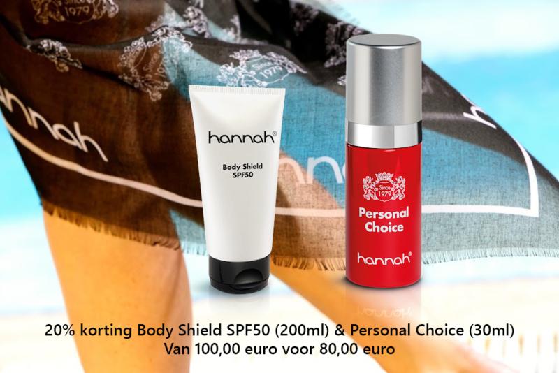 20% korting Body Shield SPF50 (200ml) % Personal Choice (30ml)