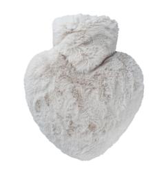 Warmwaterkruik Hartje fluffy taupe 1L Hugo Frosch