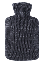 Warmwaterkruik knitted lurex zilver/antra Hugo Frosch