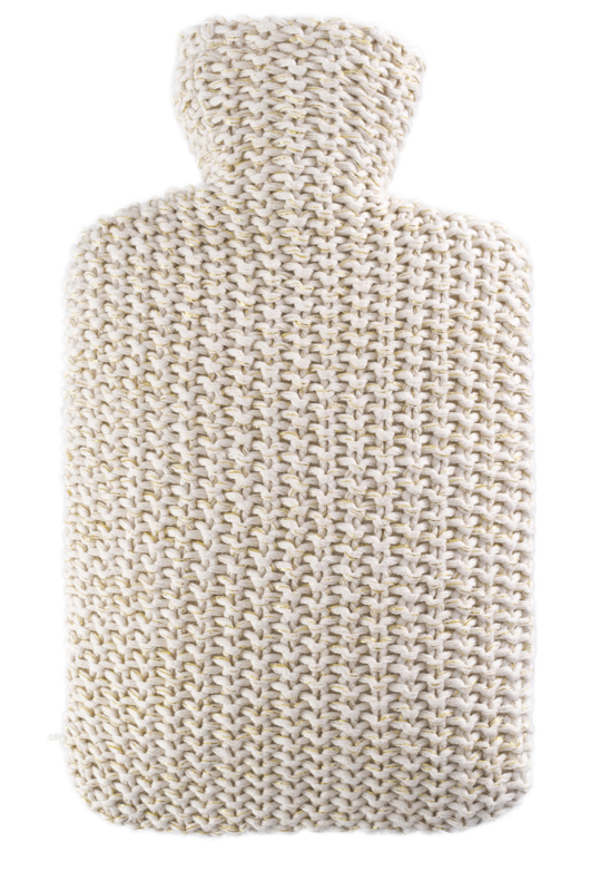 Warmwaterkruik knitted lurex goud/beige Hugo Frosch