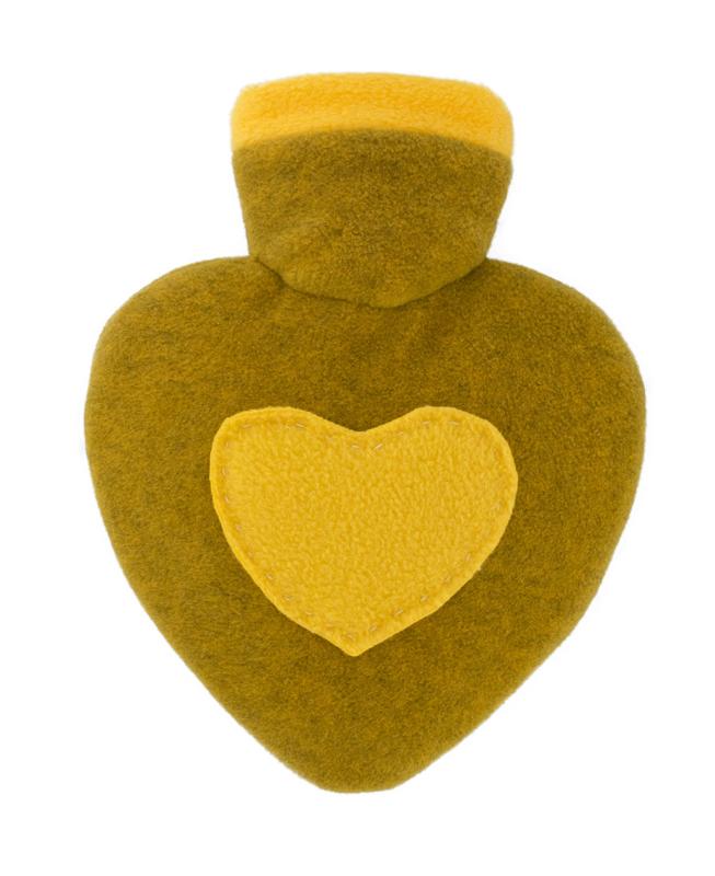 Warmwaterkruik Hartje geel/grapefruit 1L Hugo Frosch
