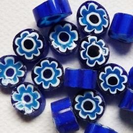Millefiori Blue Aqua Flowers