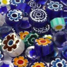 Millefiori mix blauw