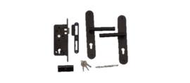 Inbouw cylinderslot RVS/zwart gecoat met lange ronde schilden