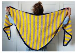 CLAIRE driehoek sjaal gehaakt geel, grijs & blauw