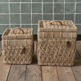 Rustic Rattan Diamond Weave Storage Box Set Of 2 pieces