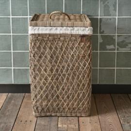 Rustic Rattan Diamond Weave Laundry Basket