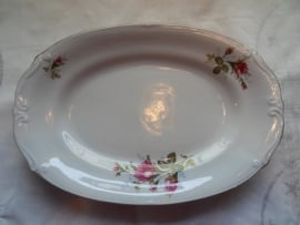 Ovalen serveerschaal wilde roos