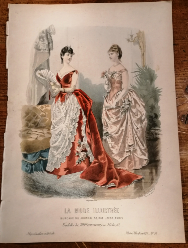 Prachtige modeprent uit 1885, La Mode Illustree, no 51